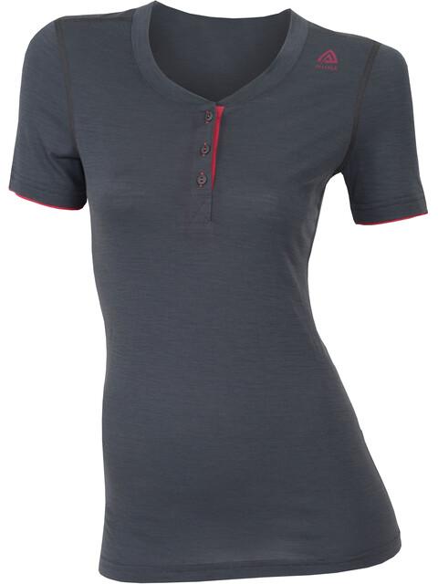 Aclima W's LightWool Henley Shirt Women Iron Gate/Raspberry